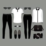 Uppsättning av moderiktig kläder Dräkt av mannen och kvinnakläder och tillbehör Royaltyfri Fotografi