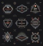 Uppsättning av moderiktiga emblem för hipster Arkivfoto