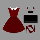 Uppsättning av moderiktiga kvinnors kläder Dräkt av kvinnaklänningen och tillbehör Fotografering för Bildbyråer