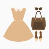 Uppsättning av moderiktiga kvinnors kläder Dräkt av kvinnaklänningen och tillbehör Kvinnors garderob också vektor för coreldrawil Arkivfoton