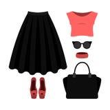 Uppsättning av moderiktiga kvinnors kläder med den svarta kjolen, överkanten och accesso Fotografering för Bildbyråer