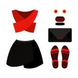Uppsättning av moderiktiga kvinnors kläder med den svarta kjolen, röd överkant Royaltyfri Fotografi