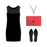 Uppsättning av moderiktiga kvinnors kläder med den svarta klänningen och tillbehör Arkivfoto