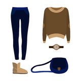 Uppsättning av moderiktiga kvinnors kläder med jeans, sweater Royaltyfri Foto