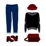 Uppsättning av moderiktiga kvinnors kläder med jeans, sweatern, hatten och acc Royaltyfri Fotografi