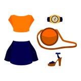 Uppsättning av moderiktiga kvinnors kläder med mörker - blå kjol, apelsinöverkant Royaltyfri Fotografi