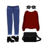 Uppsättning av moderiktiga kvinnors kläder med sweatern, jeans Royaltyfri Bild