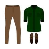 Uppsättning av moderiktiga mäns kläder Dräkt av den manflåsanden, skjortan och loa Royaltyfri Bild