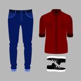 Uppsättning av moderiktiga mäns kläder Dräkt av den manflåsanden, skjortan och sne Arkivbilder