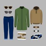 Uppsättning av moderiktiga mäns kläder Dräkt av mananoraken, jeans som är hoody Arkivbild