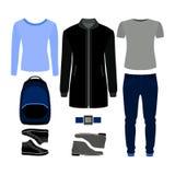 Uppsättning av moderiktiga mäns kläder Dräkt av manlaget, flåsanden, pullove Royaltyfri Bild