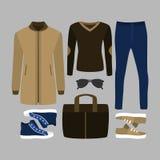 Uppsättning av moderiktiga mäns kläder Dräkt av manlaget, flåsanden, pullove Arkivfoton