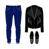 Uppsättning av moderiktiga mäns kläder med den vippaomslaget, jeans och dagdrivaren Arkivbilder