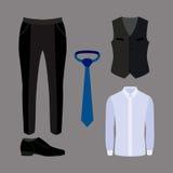 Uppsättning av moderiktiga mäns kläder med flåsanden, skjortan, västen och accessori Fotografering för Bildbyråer