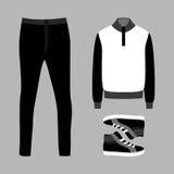 Uppsättning av moderiktiga mäns kläder med flåsanden, sweatern och gymnastikskor Arkivfoto