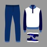 Uppsättning av moderiktiga mäns kläder med jeans, sweatern och gymnastikskor Arkivfoton