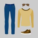 Uppsättning av moderiktiga mäns kläder med jeans, sweatern och tillbehör Fotografering för Bildbyråer