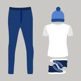 Uppsättning av moderiktiga mäns kläder med jeans, t-skjortan, locket och gymnastikskon Royaltyfri Foto