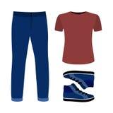 Uppsättning av moderiktiga mäns kläder med jeans, t-skjortan och gymnastikskor Fotografering för Bildbyråer