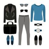 Uppsättning av moderiktiga mäns kläder med vippaomslaget, sweater, jeans Royaltyfria Bilder