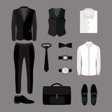 Uppsättning av moderiktiga mäns kläder och tillbehör garderob för män s Arkivfoton