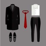 Uppsättning av moderiktiga mäns kläder och tillbehör garderob för män s Royaltyfri Fotografi