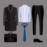 Uppsättning av moderiktiga mäns kläder och tillbehör garderob för män s Royaltyfri Foto