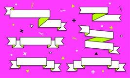 Uppsättning av moderiktiga plana geometriska vektorband Livliga genomskinliga baner i retro affischdesign utformar Tappningfärger royaltyfri illustrationer