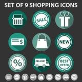Uppsättning av 9 moderiktiga shoppingsymboler Fotografering för Bildbyråer