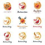 Uppsättning av modern mat Logo Template Vector Illustration Idérikt f vektor illustrationer