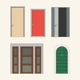 Uppsättning av moderna dörrar stock illustrationer