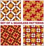 Uppsättning av 4 moderna geometriska sömlösa modeller med olika geometriska beståndsdelar av för oliv, röda och vita skuggor för  Royaltyfri Foto