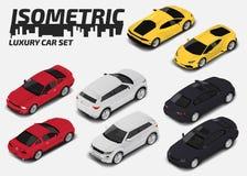 Uppsättning av moderna lyxiga bilar För stadstransport för vektor isometrisk högkvalitativ uppsättning för symbol vektor illustrationer