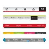 Uppsättning av moderna original- stilsökandebaner och rengöringsduktitelrader med olika etikettetiketter för din text. Arkivfoton