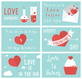 Uppsättning av moderna plana designillustrationer av kort för valentindaghälsning Royaltyfri Bild