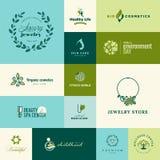 Uppsättning av moderna plana designnatur- och skönhetsymboler Royaltyfri Bild