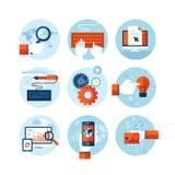 Uppsättning av moderna plana designsymboler på ämnet av utveckling för rengöringsdukdesign Royaltyfri Fotografi