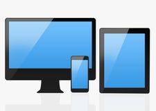 Uppsättning av moderna Smartphone som LEDAS & minnestavlan Arkivfoto