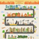 Uppsättning av moderna stadsbeståndsdelar för att skapa dina egna översikter av cien Royaltyfri Fotografi