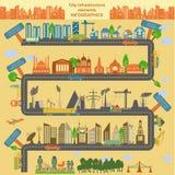 Uppsättning av moderna stadsbeståndsdelar för att skapa dina egna översikter av cien