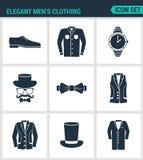Uppsättning av moderna symboler Eleganta klädskor för män s, skjorta, hattklockor, exponeringsglas, fjäril, väst, omslag, hatt, k stock illustrationer