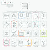 Uppsättning av moderna symboler i den tunna linjen stil royaltyfri illustrationer