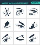 Uppsättning av moderna symboler Omsorg för penna för makeupmascaraögonbryn för snärtar, eyeliner, mascara, blyertspenna Svart tec stock illustrationer