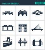 Uppsättning av moderna symboler Typer av broarkitektur, konstruktion Svart tecken på en vit bakgrund Design isolerat symbol royaltyfri illustrationer