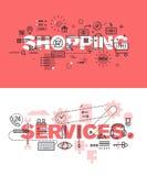 Uppsättning av moderna vektorillustrationbegrepp av ordatt shoppa och service Arkivfoto