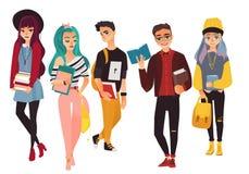 Uppsättning av modernt, hipsterhögskola, universitetsstudenter stock illustrationer