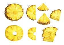 Uppsättning av mogen ananas för skiva Royaltyfri Fotografi