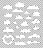 Uppsättning av moln på genomskinlig bakgrund vektor Royaltyfria Bilder