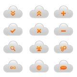 Uppsättning av molnsymboler - apelsinen och ljus - grå färger Arkivfoto