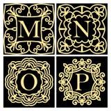 Uppsättning av monogram för kort som gifta sig inbjudningar, menyer, etiketter Emblem för grafisk design, affärstecken, boutique, royaltyfri illustrationer
